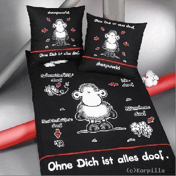 Sheepworld Bettwäsche Ohne Dich Ist Alles Doof Schwarz Megastore