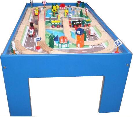 holzeisenbahn kinder spieltisch 100tlg holzspielzeug megastore. Black Bedroom Furniture Sets. Home Design Ideas