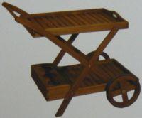 Holz Teewagen mit 2 Etagen SERVIERWAGEN BEISTELLTISCH