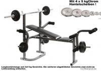 HANTELBANK KRAFTSTATION + 20kg Chrom Gewichte + Stange