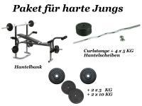HANTELBANK KRAFTSTATION + CURLSTANGE + 50 KG GEWICHTE