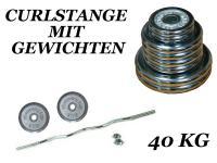 CURLSTANGE m. HANTELSCHEIBEN 40 KG SZ STANGE GEWICHTE