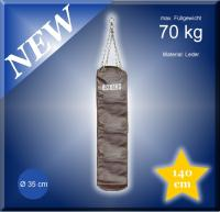 LEDER BOXSACK 140cm BRAUN Drehwirbel + Kette$NEU$ 70 kg