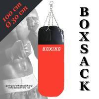 BOXSACK boxing 100cm  rot schwarz KETTE DREHWIRBEL