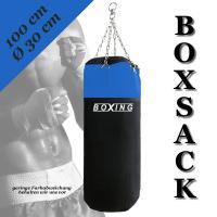 BOXSACK boxing 100cm schwarz/blau mit KETTE und DREHWIRBEL