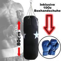 BOXSACK 80 cm Ø30cm »NEU« mit Kette Boxhandschuhe 10Oz