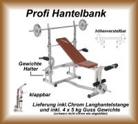 PROFI HANTELBANK Langhantelstange + 4x5 kg Gewichte
